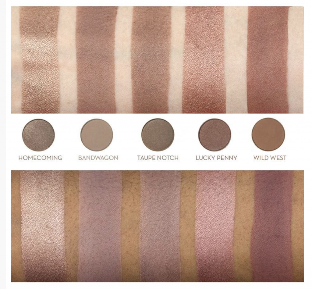 Eyeshadow swatches from Makeup Geek