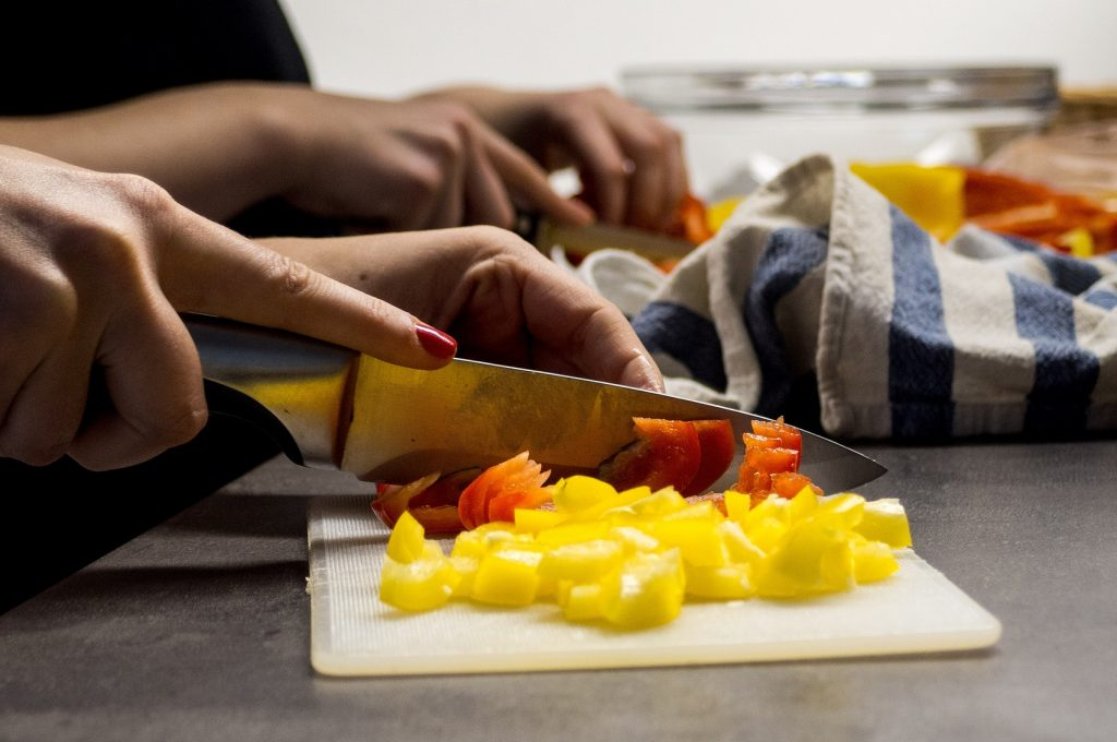 Chopping bell peppers